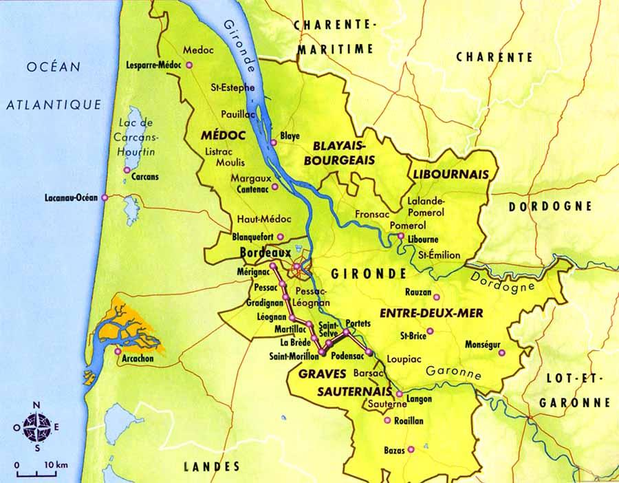 Carte du vignoble bordelais